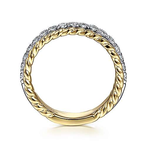 14K White-Yellow Gold Diamond Anniversary Band with Scalloped Edge