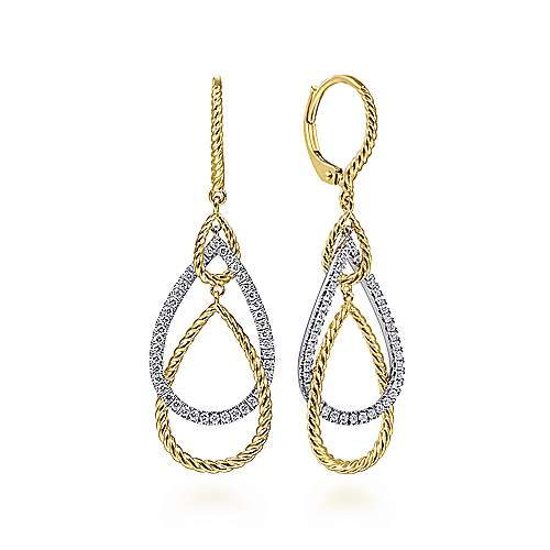 14K White-Yellow Gold Diamond Earrings