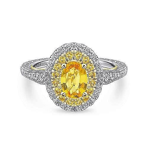 14K White/Yellow Gold Diamond Engagement Ring