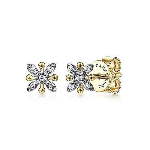 14K White-Yellow Gold Diamond Flower Stud Earrings