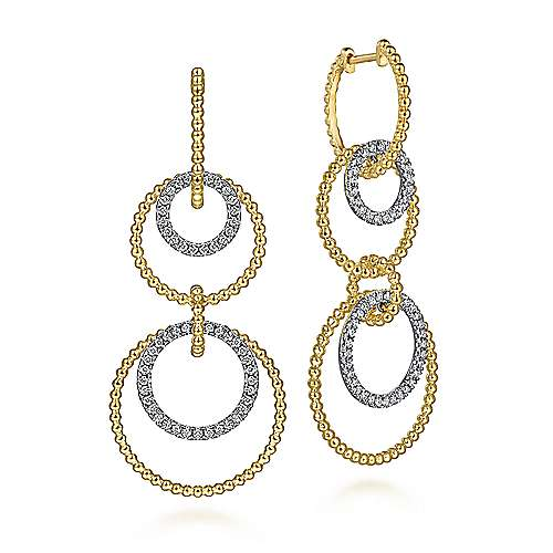 14K White-Yellow Gold Diamond Huggie Drop Earrings