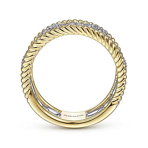 14K White-Yellow Gold Diamond Link and Twisted Rope Ring