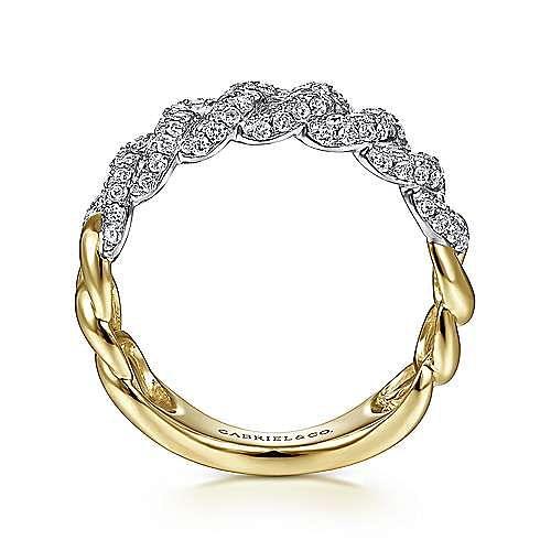 14K White-Yellow Gold Diamond Links Ring