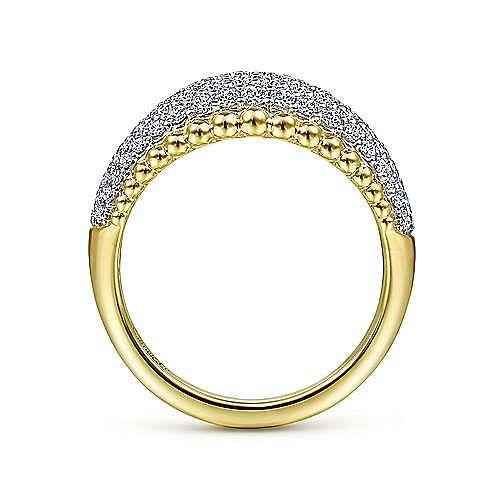 14K White-Yellow Gold Diamond Pavé and Bujukan Bead Ring