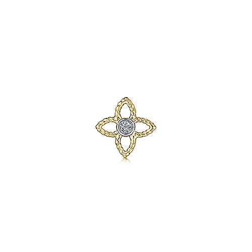 14K White-Yellow Gold Diamond Single Stud Earring