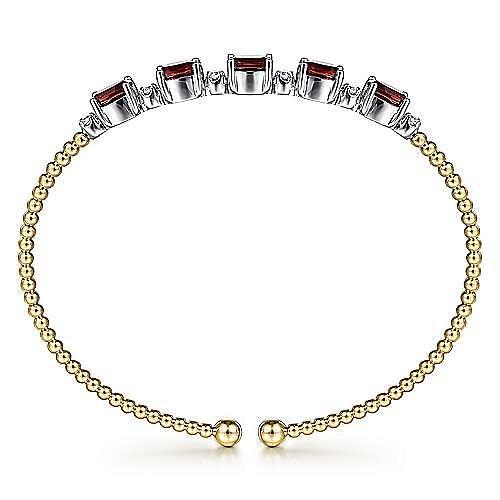 14K White-Yellow Gold Diamond and Garnet Bangle
