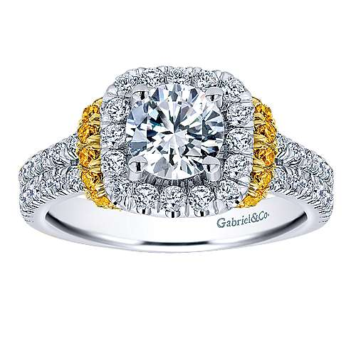 14K White-Yellow Gold Diamond and Yellow Sapphire Halo Engagement Ring