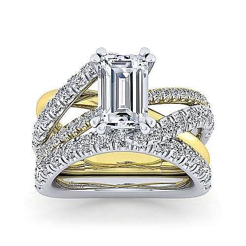 14K White-Yellow Gold Emerald Cut Diamond Engagement Ring