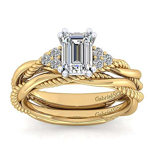 14K White-Yellow Gold Emerald Cut Diamond Engagement Ring