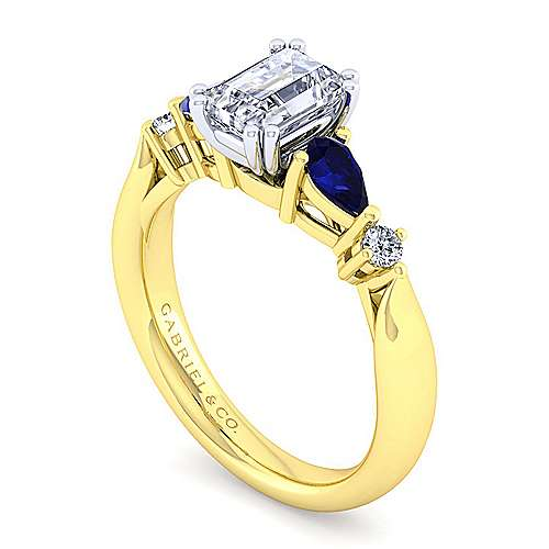 14K White-Yellow Gold Emerald Cut Five Stone Sapphire and Diamond Engagement Ring
