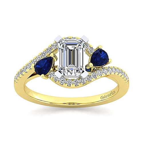 14K White-Yellow Gold Emerald Cut Three Stone Sapphire and Diamond Engagement Ring