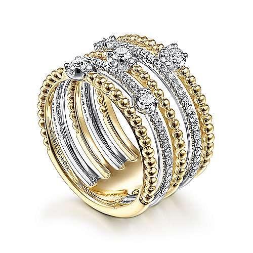 14K White-Yellow Gold Five Row Bujukan Ball and Diamond Station Ring