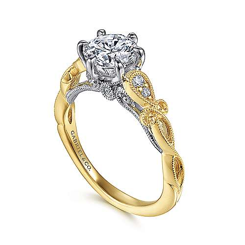 14K White-Yellow Gold Floral Round Diamond Engagement Ring