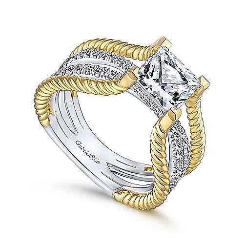 14K White-Yellow Gold Free Form Princess Cut Diamond Engagement Ring