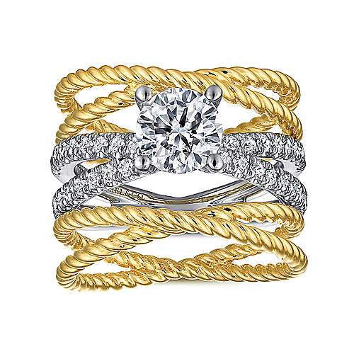 14K White-Yellow Gold Free Form Round Diamond Engagement Ring