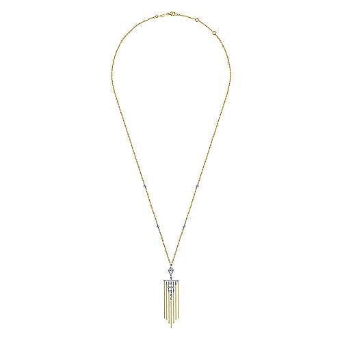 14K White-Yellow Gold Fringe Diamond Pendant Necklace