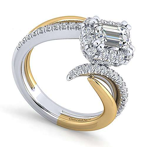 14K White-Yellow Gold Halo Emerald Cut Diamond Engagement Ring