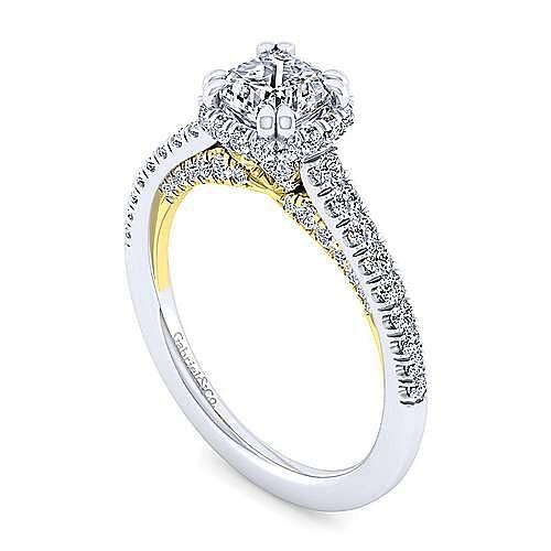 14K White-Yellow Gold Hidden Halo Cushion Cut Diamond Engagement Ring