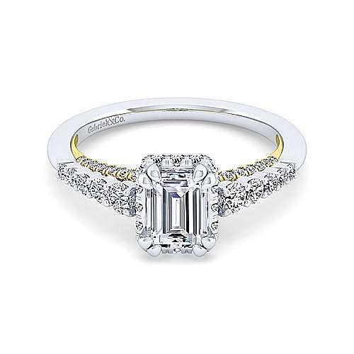 14K White-Yellow Gold Hidden Halo Emerald Cut Diamond Engagement Ring