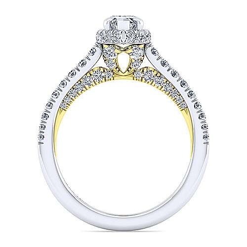 14K White-Yellow Gold Hidden Halo Marquise Shape Diamond Engagement Ring