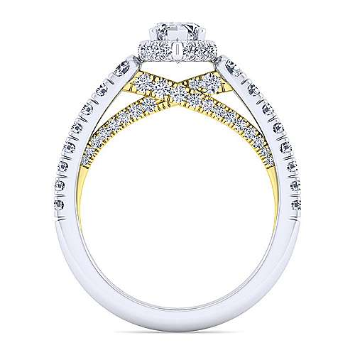 14K White-Yellow Gold Hidden Halo Marquise Shape Diamond Engagement Ring