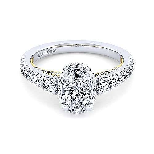 14K White-Yellow Gold Hidden Halo Oval Diamond Engagement Ring
