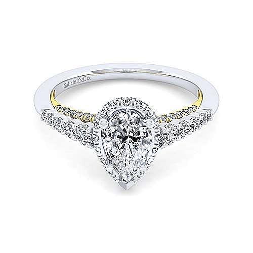 14K White-Yellow Gold Hidden Halo Pear Shape Diamond Engagement Ring
