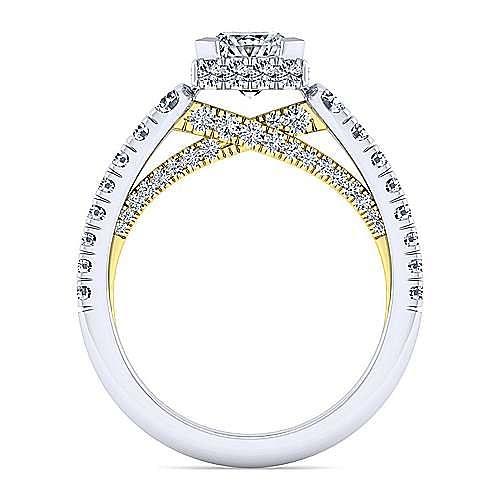 14K White-Yellow Gold Hidden Halo Princess Cut Diamond Engagement Ring