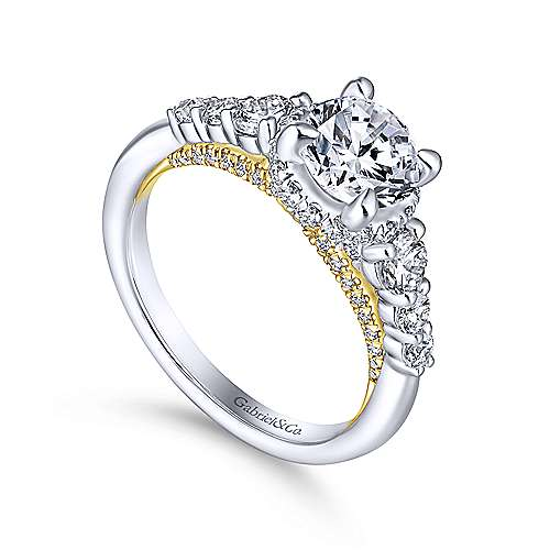 14K White-Yellow Gold Hidden Halo Round Diamond Engagement Ring