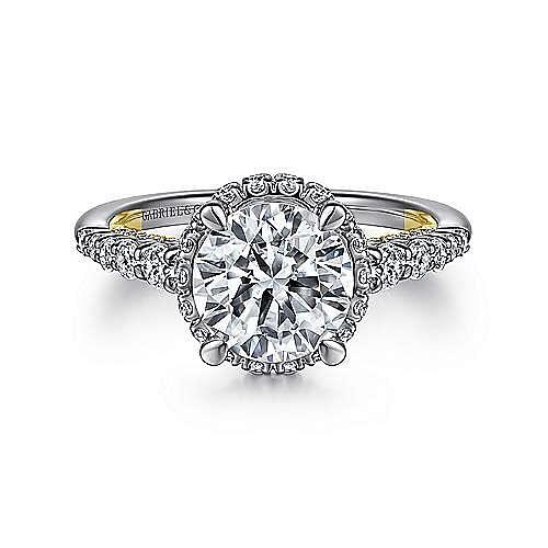 14K White-Yellow Gold Hidden Halo Round Diamond Engagement Ring