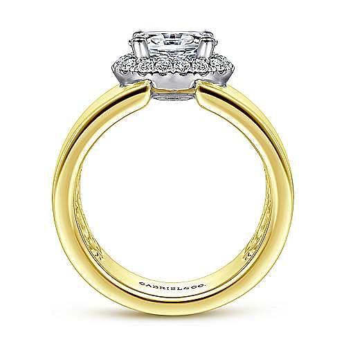 14K White-Yellow Gold Horizontal Oval Halo Diamond Engagement Ring