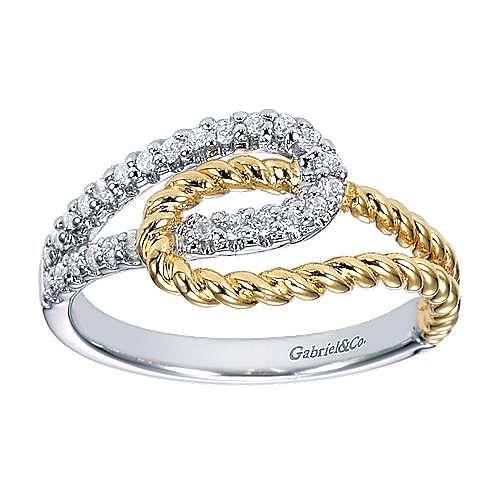14K White/Yellow Gold Interlocking Loops Diamond Ring