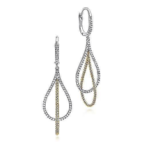 14K White-Yellow Gold Layered Open Teardrop Diamond Drop Earrings