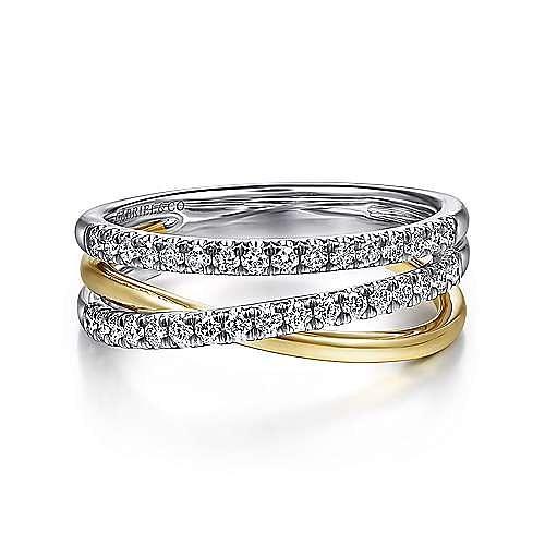 14K White-Yellow Gold Layered Three Strand Diamond Ring