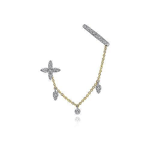 14K White-Yellow Gold Left Side Single Diamond Earring