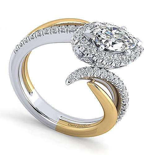 14K White-Yellow Gold Marquise Halo Diamond Engagement Ring