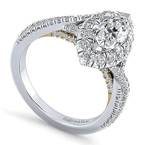 14K White-Yellow Gold Marquise Halo Diamond Engagement Ring