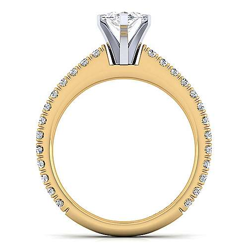 14K White-Yellow Gold Marquise Shape Diamond Engagement Ring