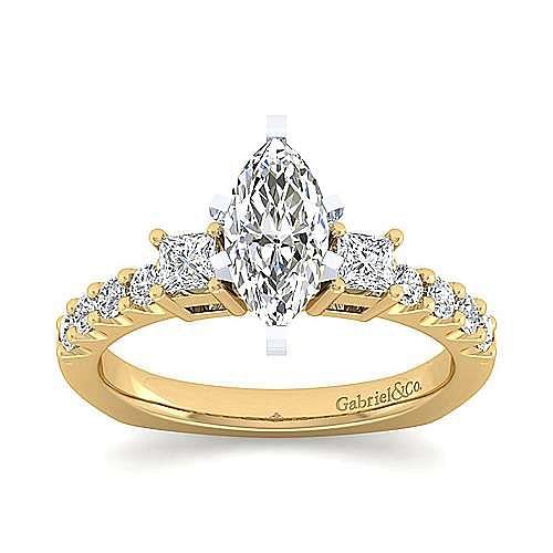 14K White-Yellow Gold Marquise Three Stone Diamond Engagement Ring