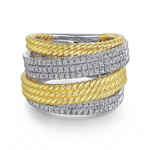 14K White-Yellow Gold Multi Row Diamond and Twisted Rope Ring