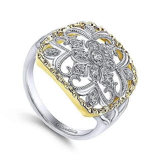 14K White-Yellow Gold Openwork Quatrefoil Diamond Ring