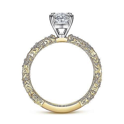 14K White-Yellow Gold Oval Diamond Engagement Ring