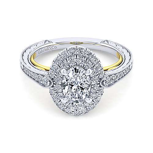 14K White-Yellow Gold Oval Double Halo Diamond Engagement Ring