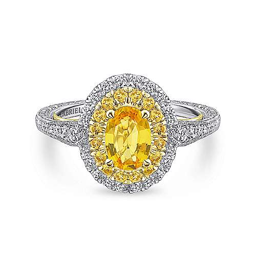 14K White-Yellow Gold Oval Double Halo Diamond and Yellow Sapphire Engagement Ring