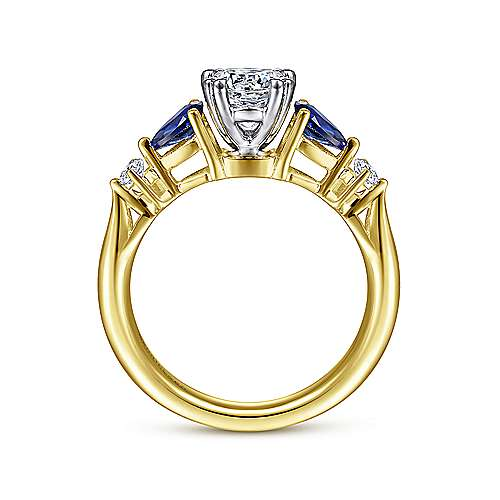 14K White-Yellow Gold Oval Five Stone Sapphire and Diamond Engagement Ring