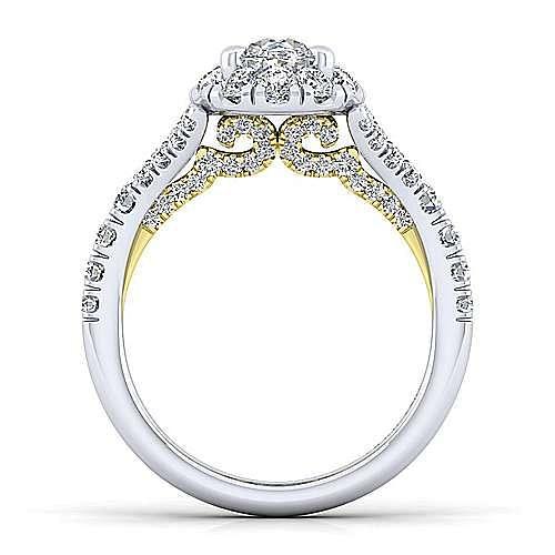 14K White-Yellow Gold Oval Halo Diamond Engagement Ring