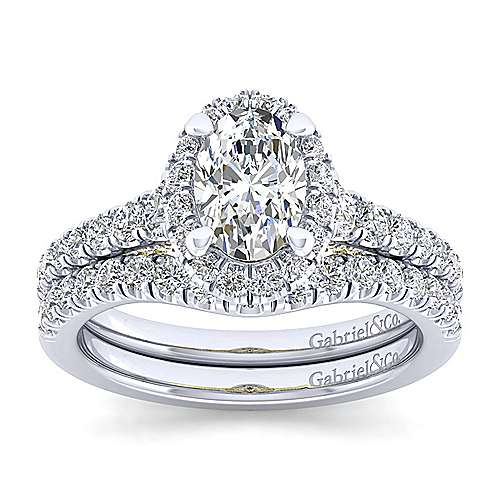 14K White-Yellow Gold Oval Halo Diamond Engagement Ring