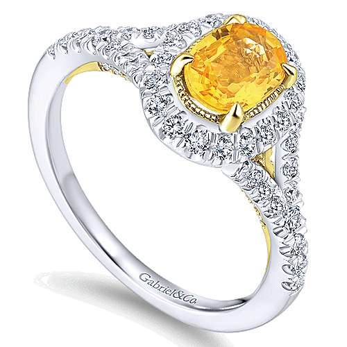 14K White-Yellow Gold Oval Halo Yellow Sapphire and Diamond Engagement Ring