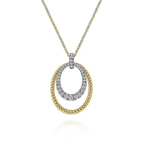 14K White-Yellow Gold Oval Twisted Rope and Pavé Diamond Pendant Necklace
