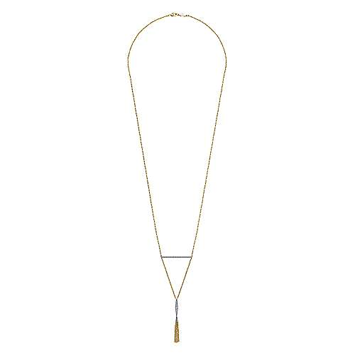 14K White-Yellow Gold Pavé Diamond Bar and Y Tassel Necklace